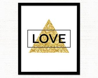 Black and Gold Love Print / Gold Printable Art / Minimalist Wall Art Print / TrianglePrint / Gold Geometric Printable / Digital Print