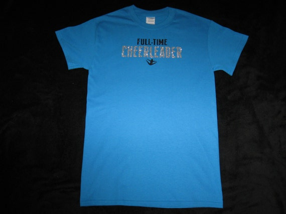 Custom Turquiose Cheer T-Shirt - Adult Small with Full-Time Cheerleader in Black and Silver Glitter