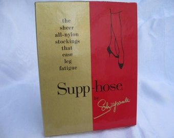 2 pairs 1960's full fashion stockings by Schiaparelli,