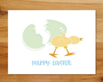 Printable Easter Holiday Greeting Card - Easter Egg, Baby Chick