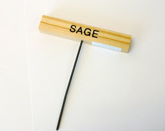 Single Engraved Wood Plant Markers, Herb Garden Markers