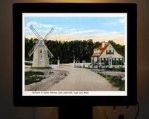 Nightlight Oyster Harbors Club Entrance Osterville Cape Cod MA Hand Tint Postcard Colorful Bedroom Bathroom Bridal Gift idea