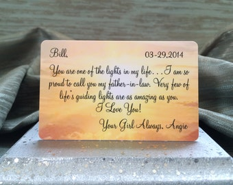 Father-in-law Gift,Personalize Card,Wallet Insert Card,For Him,Wedding Day,Message,Love Note,Appreciation,Memento,Sentimental,Anniversary