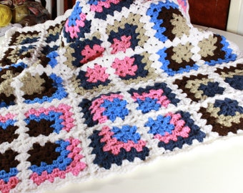 Crocheted Mitered Granny Square Baby Blanket   *******FREE SHIPPING*******