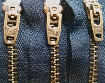5 YKK Jean Zippers 4 Inch Antique Brass #4.5 Closed Bottom Navy Blue (5 zipper))