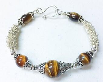 Tiger Eye and Sterling Silver Bracelet