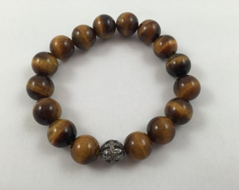 New GORGEOUS 12mm Tiger Eye and Diamond on 18K White Gold over Sterling Silver Beaded Bracelet