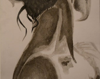 Neck female Indian ink