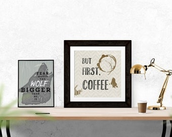 But First Coffee, Kitchen Art, Kitchen Decor, Coffee Shop Art, Typography Print, Printable File, DIY Art, Digital Download, Square Art Print
