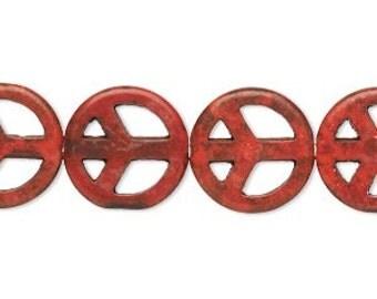 Peace Sign Bead, red bead, red peace sign bead, 15mm, 8 each, D383