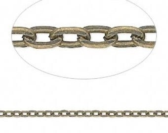 Antiqued Brass Chain, flat cable chain, Steampunk, 3x2mm chain, 3 feet, unsoldered chain, D498