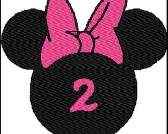 Minnie Mouse Second Birthday Embroidery Design