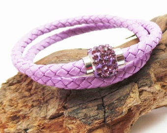 Lilac braided leather wrap bracelet with amethyst shamballa magnetic clasp
