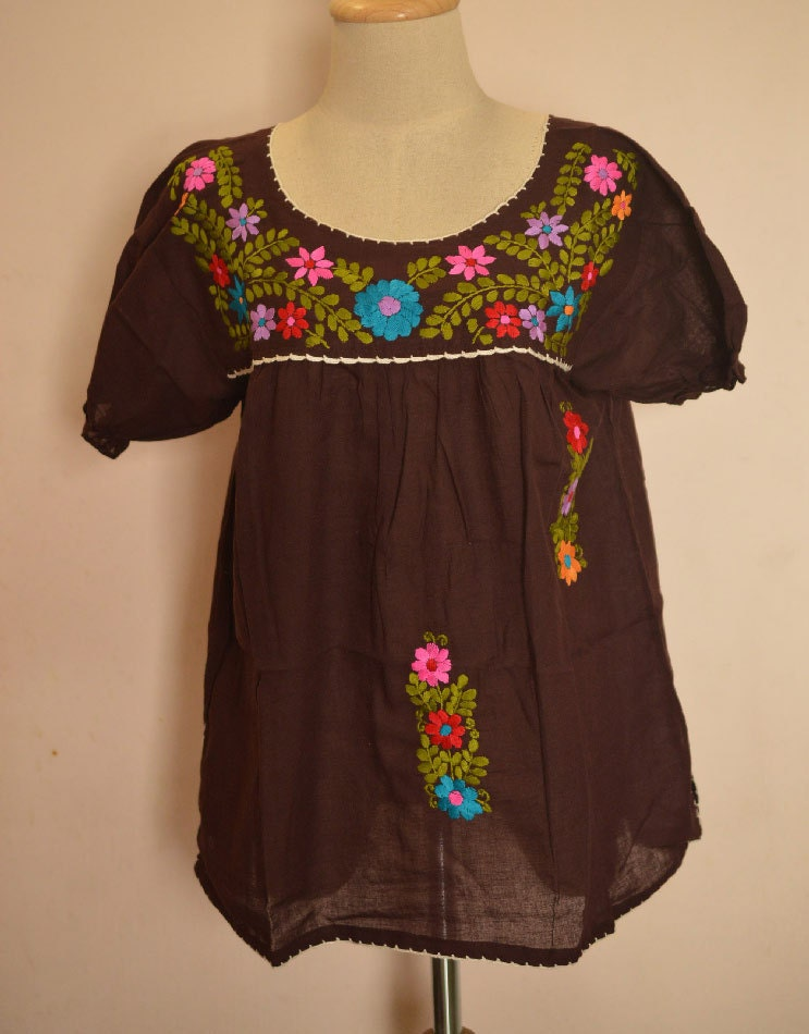 Mexican embroidered blouse flora crocheted peasant cotton
