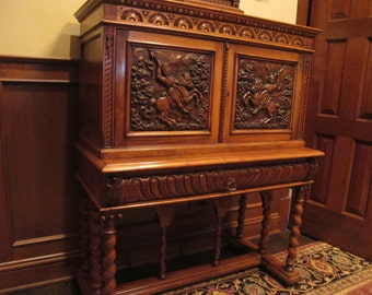 Antique Secretary Drop Front Desk with Knights on Horseback