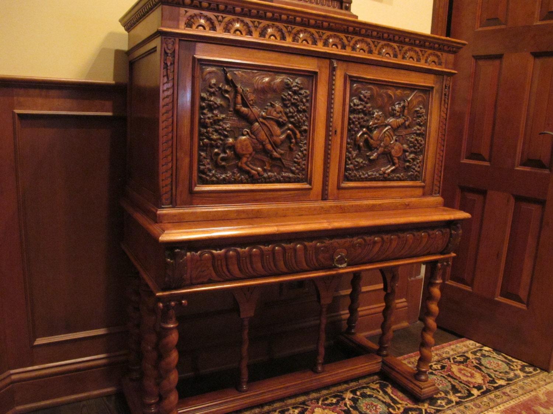 Antique Drop Front Secretary Desk >> Antique Secretary Drop Front Desk with Knights on Horseback