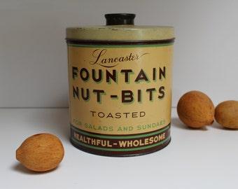 Fabulous Vintage Tin!  Fountain Nut-Bits 1930's! Art Deco