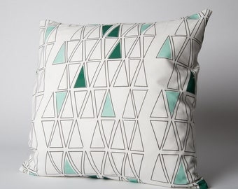 """Emerald and Mint Triangle Throw Pillow Cover made with Organic fabric, 18x18"""""""