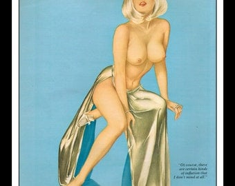 "Vargas Playboy Pinup Girl Vintage April 1971 ""Inflation"" Sexy Blonde Nude Mature Wall Art Deco Print"