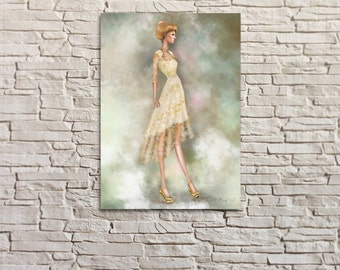 Lily Cole in Erdem by BasakTinli Fashion Illustration Rolled Canvas Print  Wall ART, decor