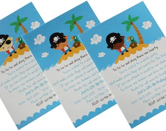 Custom Pirate Birthday Party Invitations and Thank You Notes