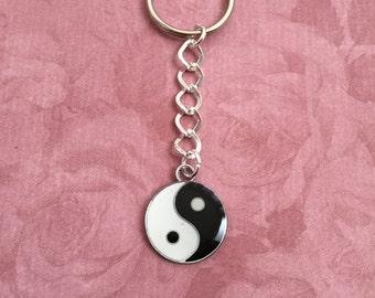 Black and White Enamel Yin Yang Keyring, Yin Yang Keychain, Yin Yang Charm, Zen,