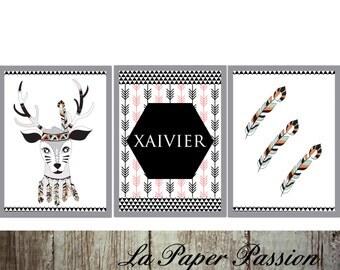 Nursery Prints, Boys prints, Bedroom  Wall Print, Indian Tribal Prints, Deer prints,  Custom sizes, Custom name,