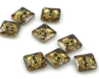 Swarovski Crystal Button 3017 Light Colorado Topaz M-Foiled 12mm Square