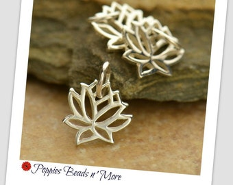 Tiny Sterling Silver Lotus Charm