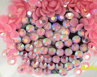 Pink 2 - 6 mm Jelly AB Rhinestone 14 Faceted Resin foiled Kawaii Cabochon Deco Den on Craft Phone Case DIY Deco R122