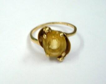 vintage 20k gold ring citrine gemstone handmade tribal jewelry rajasthan india