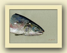Atlantic salmon fish - fish watercolor animal decor-salmon salar-atlantic wall art -blue salmon- Original watercolor painting- Juan Bosco