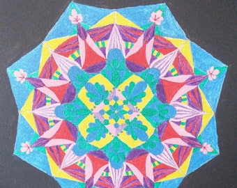 One of kind hand drawn and painted Mandala