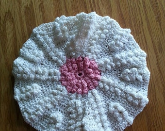 Embroidered Pink & Cream Doily