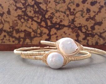 Pearl Wire Wrapped Bracelet Set