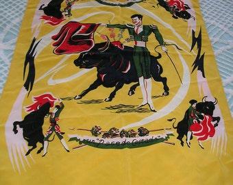Vintage Scarf Matador Yellow 1950s  El Toro Bullfighter Spanish wall decor