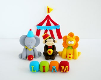 Carnival fondant cake topper. Fondant carnival circus theme cake topper. 3 fondant circus animals with name blocks and tent
