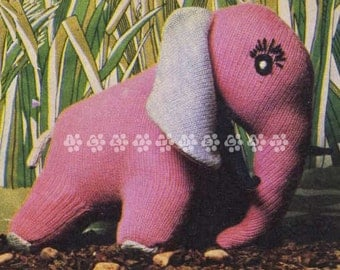"""Vintage 1970's Knitting Pattern to make a 13"""" Soft Toy Elephant Stuffed Soft Plush Toy by A PDF Immediate Digital Download"""