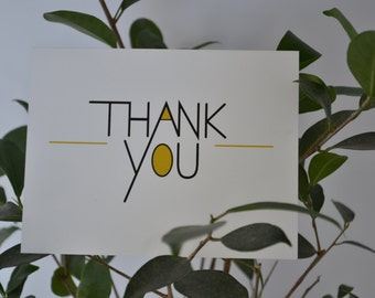 Black and Gold Thank you note cards, Set of Twelve.