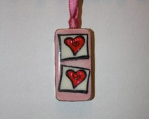 Domino Necklace, Domino Pendant Red Double Heart