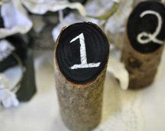 rustic wedding table numbers, rustic log table numbers, country wedding decor, rustic wedding decor, outdoor wedding decor, Chalkboard wood