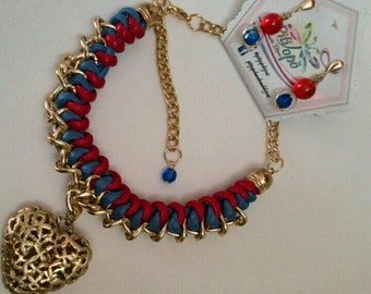 Necklace my Gold heart blue and red