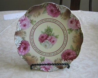 1898 to 1918 Hand Painted Pink Floral Bohemia Egerland O.E. & G. 10 inch Plate