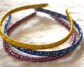 Handmade Lace Hairbands in Purple, Yellow, Blue