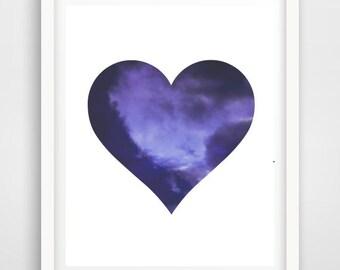 Sky Print, Blue Sky Photo,  Printable Art, Heart Print, Indigo Sky, Blue Wall Art, Sky Photography,  digital Download