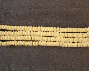 """Natural Cow Bone Beads 5mm Rondelles Two 16 1/2"""" Strand Jewelry Making"""