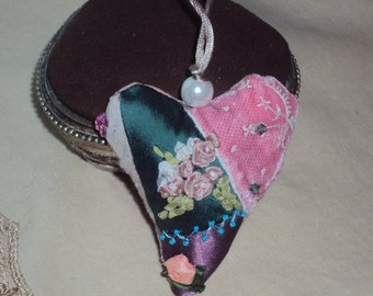 crazy quilting hanging heart