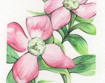 Pink Flowers | 4x6 Original Watercolor