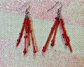 Spunky, Red, Dangling Earrings