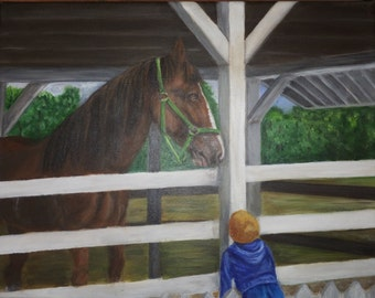 "Mesmerized 11"" x 14"" stretched canvas.  Clyde the Clydesdale on Mackinaw Island and a little boy who was in awe."